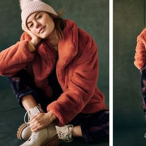 Anthropologie NWT Orange Faux Fur Jacket Size L